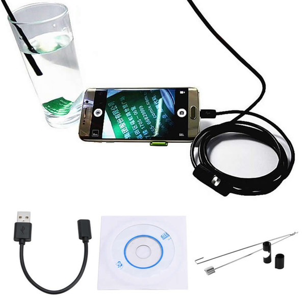 top popular 7mm Diameter 1M 1.5M 2M 3.5M 5M 6 LED Endoscope IP67 Waterproof Android Inspection Borescope Tube Pipe Camera 2019