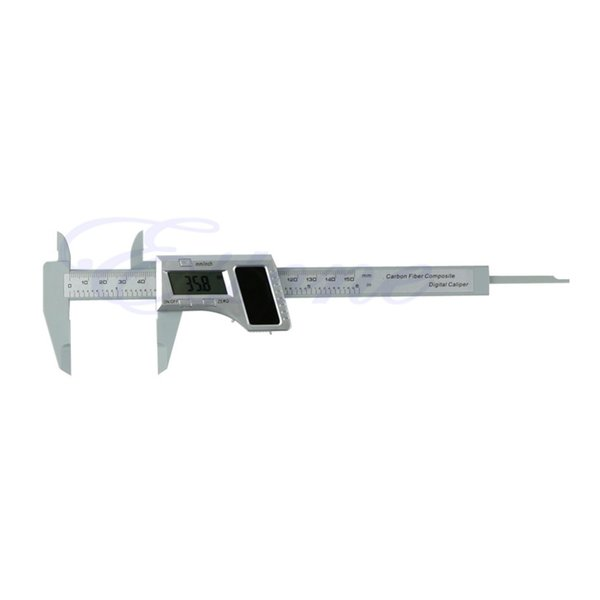 Wholesale-Free Shipping LCD Solar Digital Caliper Carbon Fiber Composite Vernier Gauge Micrometer 150mm