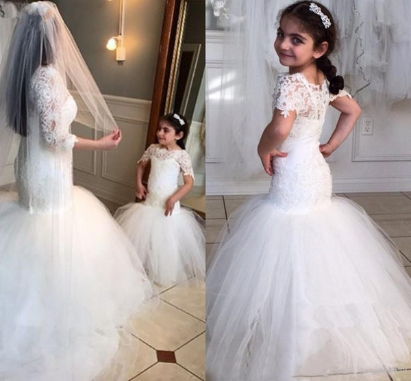 best selling 2019 White Lace Flower Girls Dresses For Weddings Beauty Short Sleeves Mermaid Girl Birthday Party Dress Trumpet Little Girls Pageant Wear