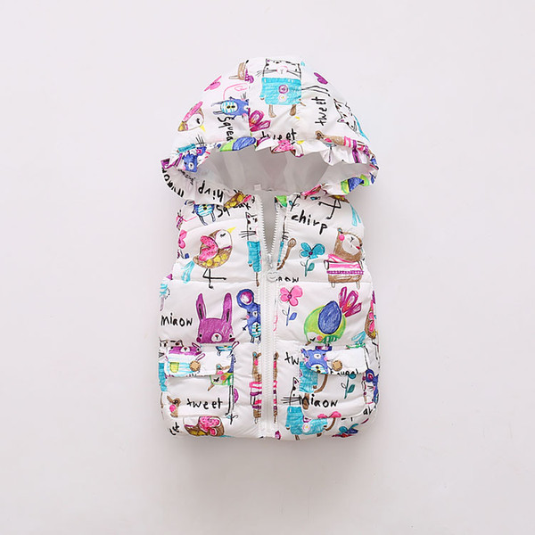 top popular Wholesale- 5 color winter baby girls vest cartoon graffiti thick with hooded children waistcoat warm kids jacket vest girl costume outerwear 2021