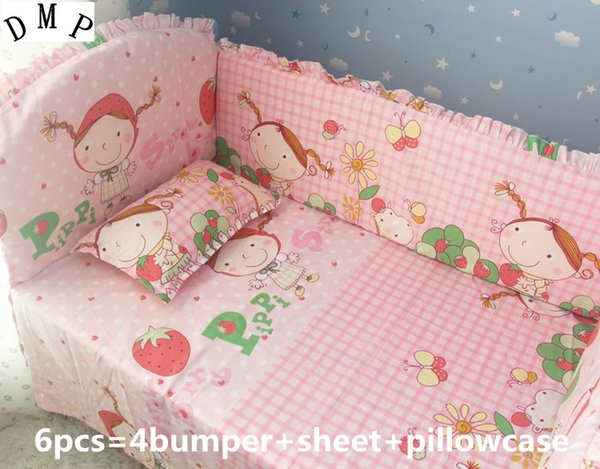 Promotion! 6PCS Baby beding bumper set Cute & Fancy cotton Washable Baby Cot Bedding Bumper ,include(4bumpers+sheet+pillowcase)