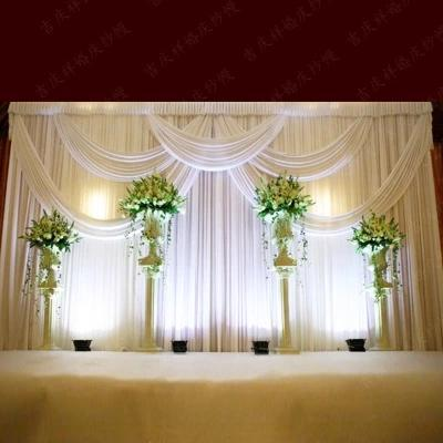 3*6m (10ft*20ft) Milk White Wedding Curtain Backdrops with Swag High Quality Ice Silk Material Wedding Party Stage Decorations