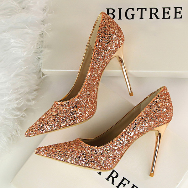 Sexy pointed toe lady party dress shoes fashion sequins 9.5cm stiletto heel wedding shoes 8 colors 9219-1 size 35-43
