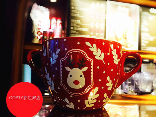 2019 New Year Christmas Costa Red Fiery Trees Silver Flowers Elk Mug For Starbucks Coffee Milk 650ml Festival Double Handle Ceramic Bowl Cup From