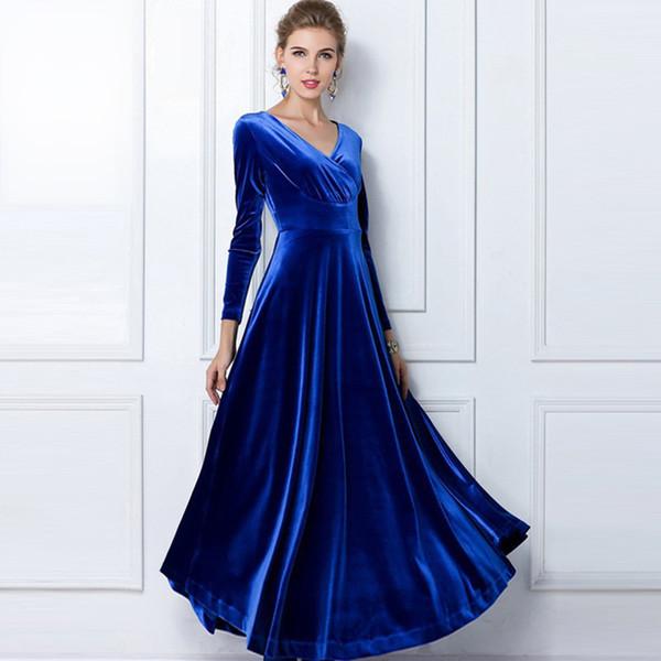 Best Fall Winter Women Plus Size Velvet Dresses Long Sleeve Maxi ...