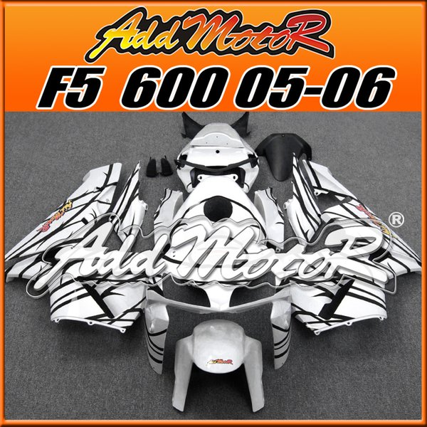 Addmotor New Design Injection Mold Fairings Body Kit Fit Honda F5 CBR600RR 2005 2006 Flames Black White H6588 +5 Free Gifts New Arrival