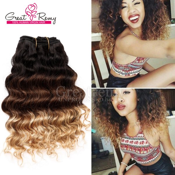 """Greatremy® 100% Brazilian Human Hair Extension Ombre Dye Three Tone #1B/#4/#27 Color 10""""-30"""" Hair Weft Weave Wavy Deep Wave 8A 10pcs/lot"""