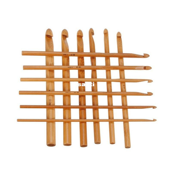 New Arrive 12pcs/set Sweater knitting Circular Bamboo Handle Crochet Hooks Smooth Weave Craft Needle 12 Size