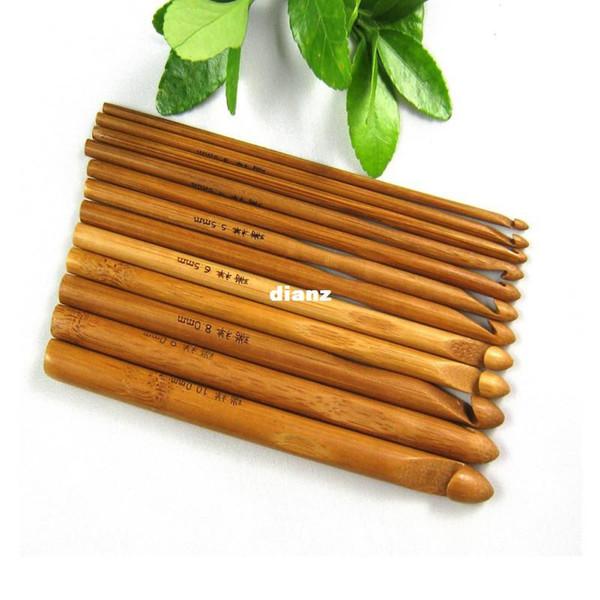 12pcs / set Maglione di lavoro a maglia circolare maniglia di bambù uncinetti aghi Weave Craft 12 dimensioni