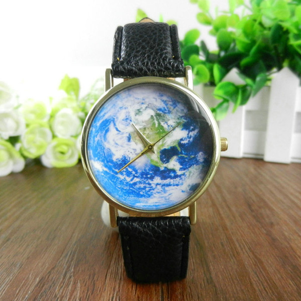 2016 new women men vintage earth world map watch alloy analog quartz leather wrist watches 100pcs
