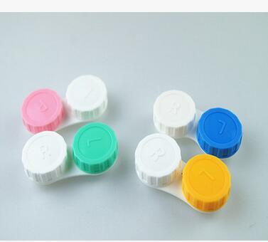 Free shipping best Price 5000pairs contact Lens Case lovely Colorful Dual Box Double Case Lens Soaking Case