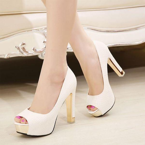 Women's Fashion Peep Toe Elegant Wedding Pumps Platform Thick High Heel White Dress Black Heels Office Shoes Sale Online