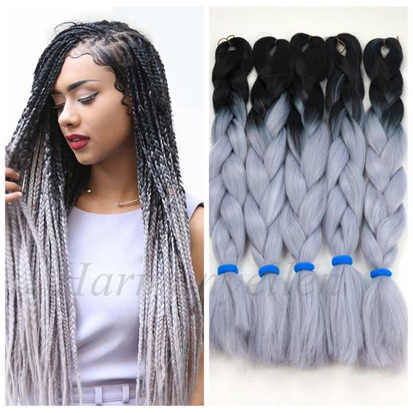 top popular STOCK two tone color synthetic yaki braiding hair 2 tone ombre kanekalon jumbo braid box hair (Black Light Gray Color) 2020
