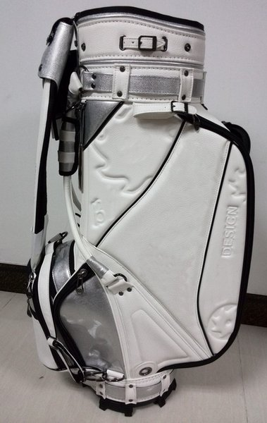 "top popular golf staff bag 2016 new style Ti CB5AW press flower Golf staff Bags 9"" in white 2019"