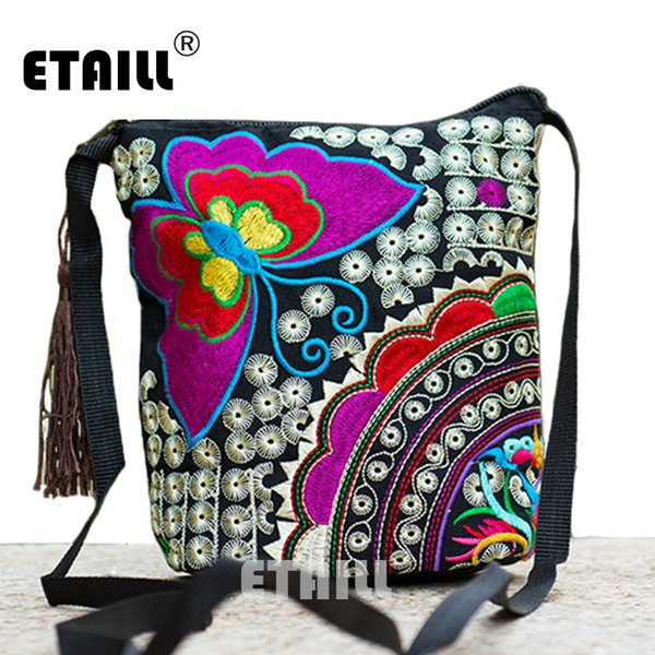 Wholesale- Ethnic Hmong Boho Indian Embroidered Small Shoulder Bag Handmade Fabric Embroidery Logo Luxury Brand Crossbody Bags for Women