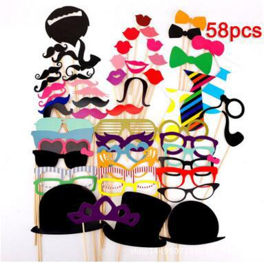 58 pcs/lot Photo Booth Props Glasses Mustache Lip On A Stick Wedding Birthday Party Fun Favor Supply Store