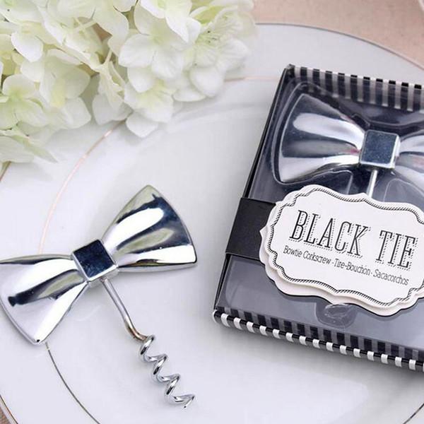 Kreative Black Tie Fliege Wein Korkenzieher Flaschenöffner Brautdusche Hochzeit Gunsten Party Souvenirs ZA4666