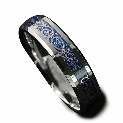6 millimetri argento celtica Sfondo blu