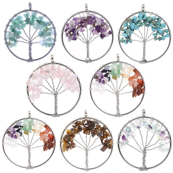 Copper Wire Wrapped 7 Color Gravel Natural Stone Life Tree Pendant Women Jewelry Luck Accessory Gravel Crystal Pendant D88S