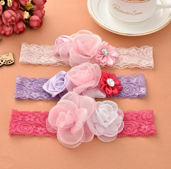 Europe Fashion Infant Baby Lace Headbands Cute Flowers Girls Hair Bands Childrens Elastic Hair Accessories Lovely Kids Headwrap 3 Color