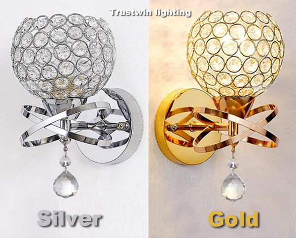 Classic Vintage Crystal wall light Bedside Silver Gold ball crystal Wall Lamp 110V 220V crystal wall sconce with pull switch