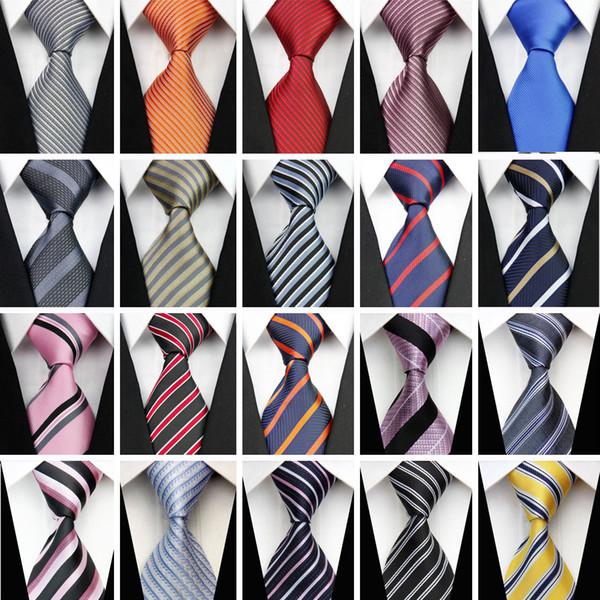 Vente en gros-Accessoires Cravate pour homme à carreaux en soie Ensemble de boutons de manchette mouchoir mouchoir en soie Marron Gris Blanc Cravates pour hommes 430