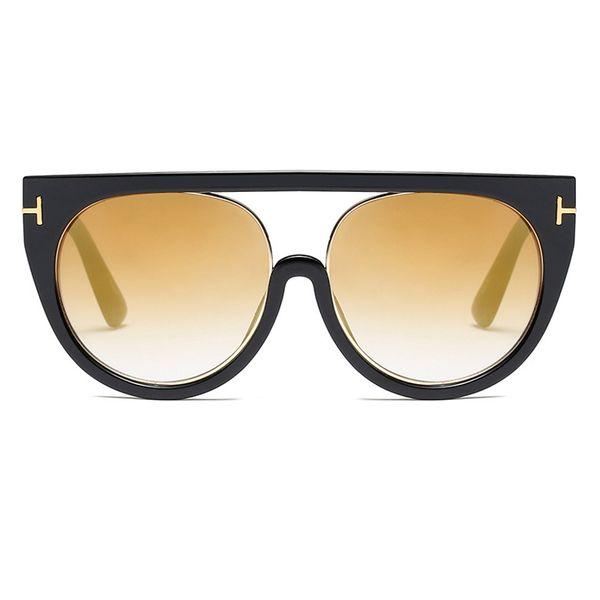 C8 Glossy Black Frame Yellow Gold Mirror