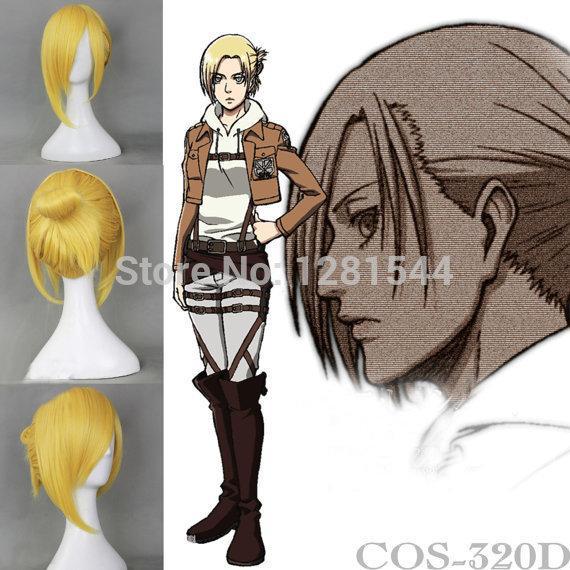 Free shipping Shiny Gold Attack On Titan Shingeki No Kyojin Annie Leonheart Short Cosplay Wig