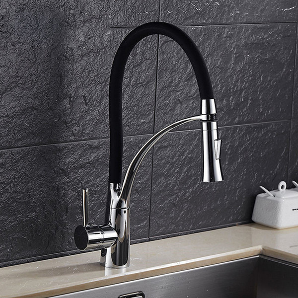 Free shipping Senducs luxury kitchen faucet with deck mounted brass kitchen sink faucet or chrome LED kitchen water mixer tap
