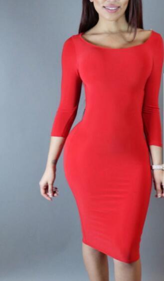 buy online fb2bc 30a53 Großhandel Neue Europäische Rote Kleid Enge Einfarbig Frauen Sexy Kleider  Langarm Backless Dünnes Kleid Sexy Club Herbst Stretch Dünne Party Kleider  ...