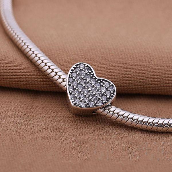 Carta en forma de corazón MÁS NUEVA Li Guohua 1 / lot plata pura S925 plata de ley pulsera del grano del encanto de lujo joyería de moda europea DIY