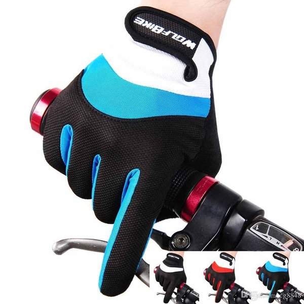 Wolfbike Cycling Glove MTB Mountain Bike Gloves Full Finger Downhill Bike Bicycle Gloves 3 Colours Guantes Ciclismo