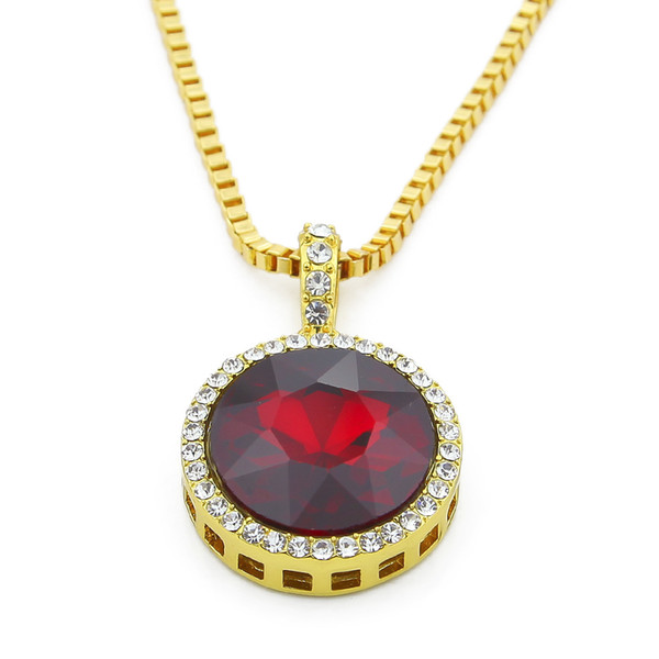 24k Gold Plated Hip Hop Iced Out Red Ruby Round Pendant Necklace with 3mm Box Chain