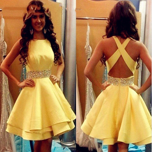 Sexy Yellow Prom Dresses Short 2019 Girls Satin Beaded Ribbon Cocktail Party Gowns Criss Cross Cheap Junior Graduation Gowns Homecoming