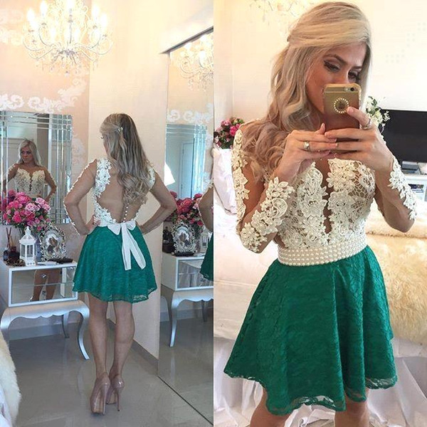 2017 Sexy Teal Green Lace Homecoming Dresses Deep V Neck Long Sleeves Sheer Cocktail Gowns Beaded Stones Top Mini Party Prom Dresses BA3568