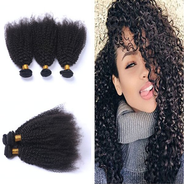 Hot Beauty Kinky Curly Hair Weaves 3 Pcs Brazilian Human Hair Bundles Afro Kinky Curly Hair Extensions For Black Woman Free Shipping