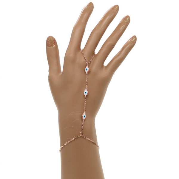 18k gold silver rose gold plated 3 color white enamel cute evil eye link chain fashion jewelry hand bracelet slave bracelet with ring