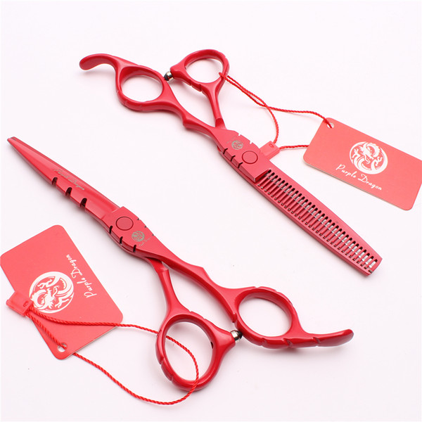 "Z1010 6"" Japan Purple Dragon Red Professional Human Hair Scissors Barber's Hairdressing Scissors Cutting Thinning Shears Salon Style Tools"
