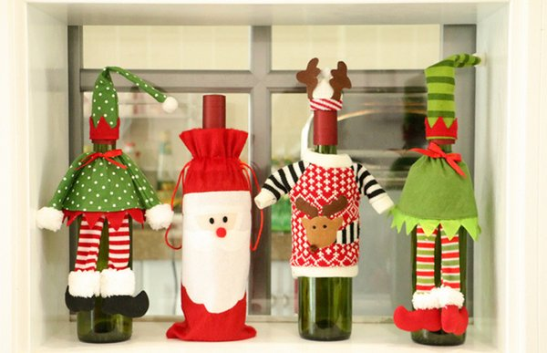 4pcs merry xmas santa claus wine bottle cover christmas dinner party table decor red mix design