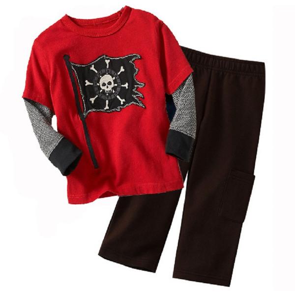 Pirate Fashion Children Clothes Sets Wholesale 90sets Boys Pajamas Suit Kids Sport Suits 100% Cotton 90-130 T-Shirts Trousers