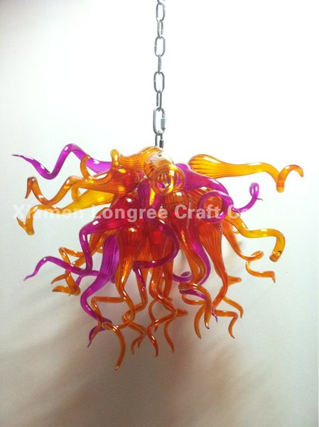 C79-Long Chain Decorative Hand Blown Glass LED Chandelier Lighting Dining Room Decorative Murano Style Crystal Pendant Lamps