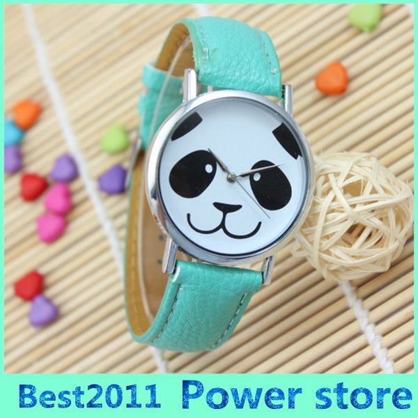 2016 New Fashioh Lovely Panda Leather Strap Watch CUTE PANDA PRINTED Dial Ladies Students Watch Girls Gift Watch