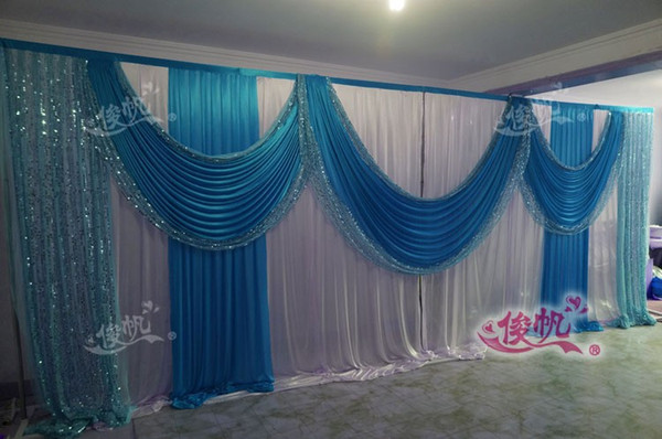 3M*6m Ice Silk White Wedding Backdrop with blue Sequins Swag Custom Color Luxury Wedding Background for Wedding Party Decor