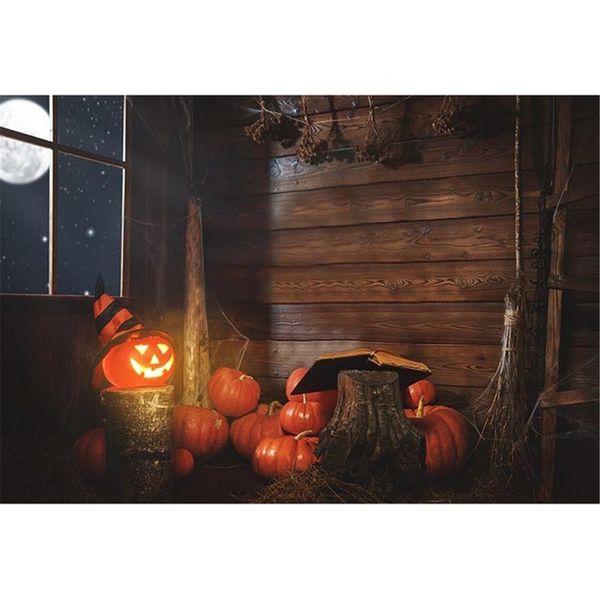 Vollmond-Glitter Sterne Himmel Fenster Halloween Kinder Backdrops Holzwand Magie Buch Kürbis Laterne mit Hut Kinder Fotostudio Hintergrund