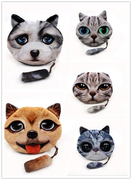 200pcs 5 Design 3D Printer Cat face Cat dog Coin Purse Bag Wallet Girls Clutch Purses Change Purse cartoon handbag case D641