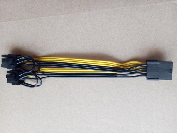 Wholesale- PCI-E PCIE 8p Female to 2 Port Dual 8pin 6+2p Male GPU Graphics Video Card Power Cable Cord 18AWG Wire F19803