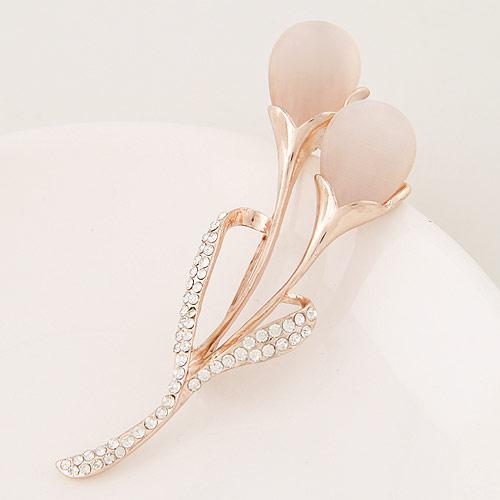 Summer Sale Korean Version Fashion Accessories Jewelry Opal Water Drop Czech Drilling Tulip Flower Leaf Dress Charm Brooches Pins For Women
