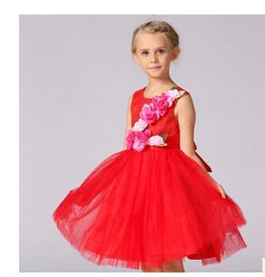 2018 nouvelle mode sans manches fille fleur robe de soirée fête bébé fille robe de baptême enfants bébé anniversaire robes de noël