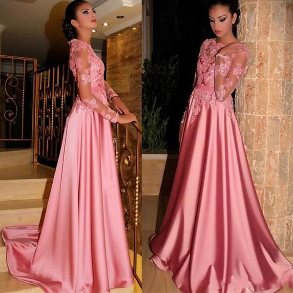 Sheer Long Sleeves Arabic Prom Dresses 2018 Bateau Appliques Beads A Line Sweep Train Candy Pink Evening Gowns Party Pageant Dress Cheap