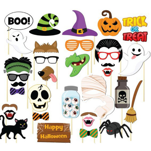 Halloween Photo Booth Props Masks Mustache Skull Vampire Ghost Bat Pumpkin Glasses Witch Wizard Hats Devil
